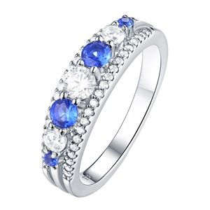 Jewelry - 925 silver wedding band promise Bridal Pave Ring